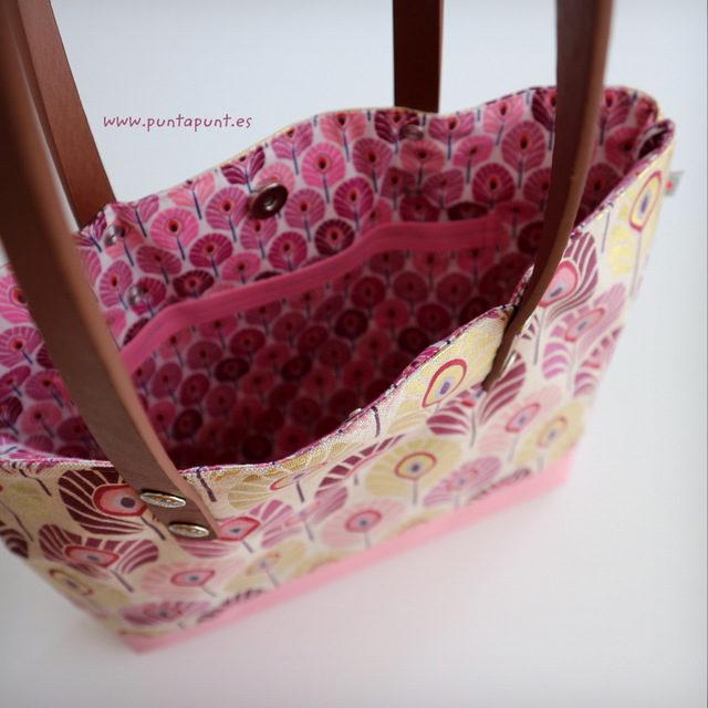 Bolso con asas de cuero «Flor de Loto rosa» – en stock