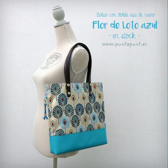 Bolso con asas de cuero «Flor de Loto azul» – en stock