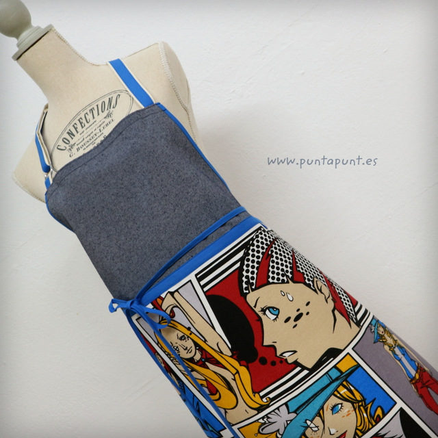 Delantal unisex «Comic Blue» – en stock