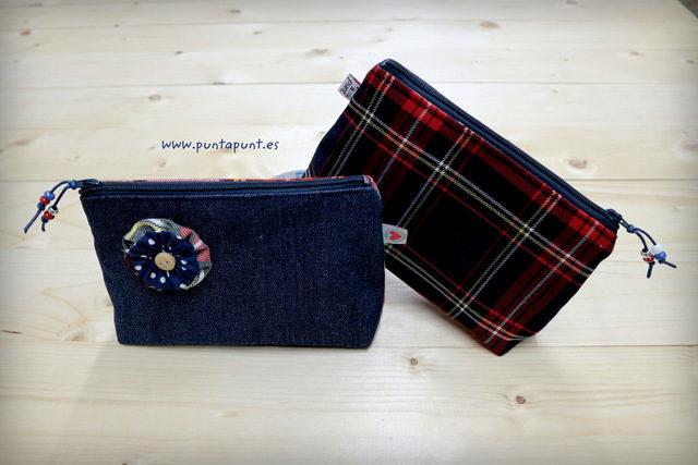 Neceser pequeño combinado tejano con escocés – en stock