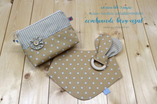 Set de 3 piezas para bebé «Combinado beig-azul» – en stock