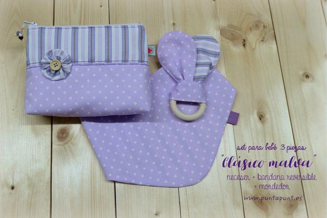 Set de 3 piezas para bebé «Clásico malva» – en stock