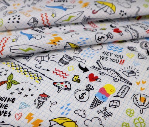 detalle textil doodle punt a punt