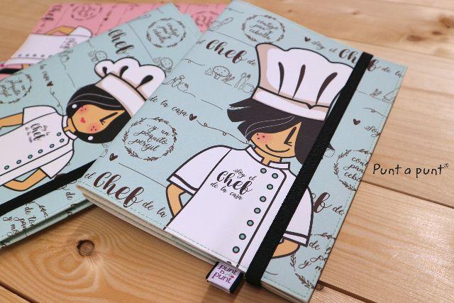funda cuaderno chef azul