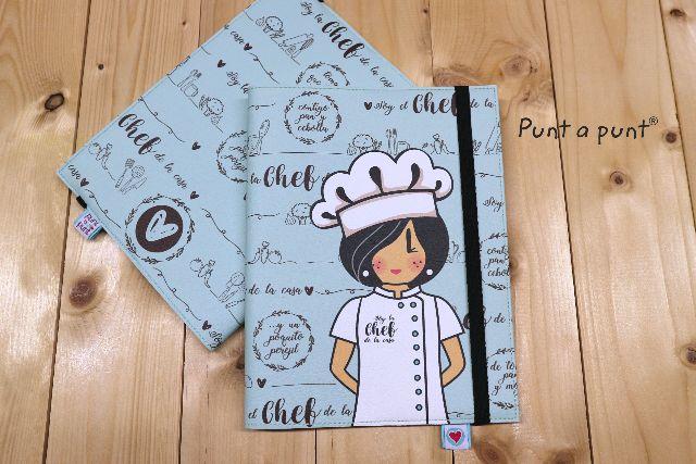 funda cuaderno cocinera azul