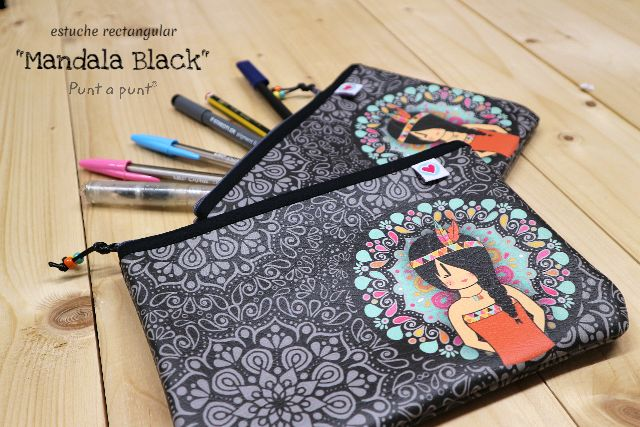 Estuche rectangular «Mandala black» – en stock