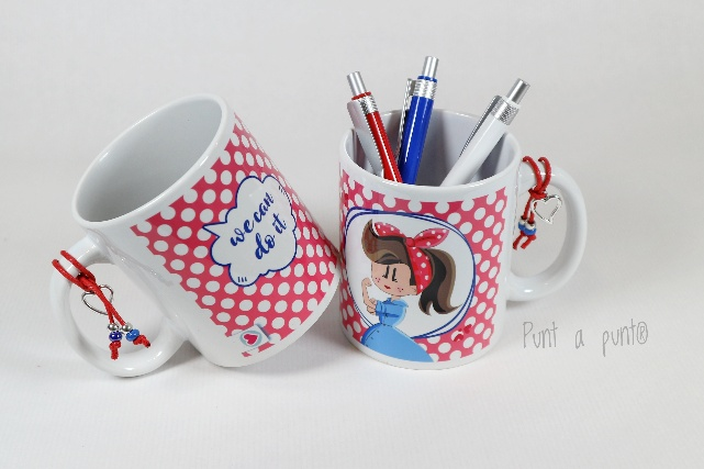 taza ceramica we can do it punt a punt rojo