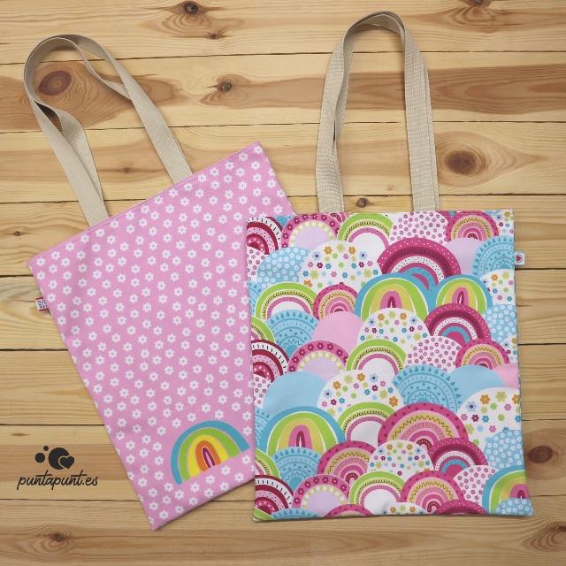 bolsa dosasas arcoiris punt a punt rosa