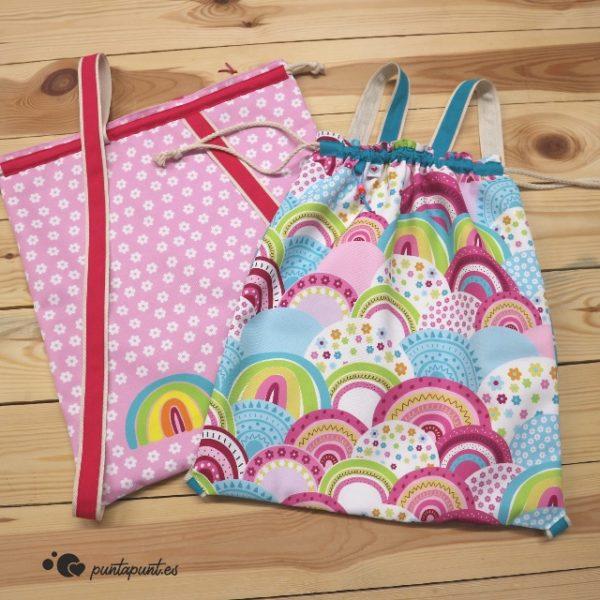 mochila arcoiris punt a punt rosa